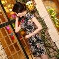 Verão de Moda de Veludo Do Vintage Cheongsam Qipao Chinês Tradicional Vestido de Verão Curto Impresso Vestido de Festa Roupas Femininas