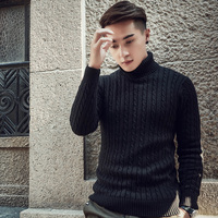 2018 Fall Winter Thick Warm Cashmere Sweater Men Turtleneck Men Brand Mens Sweaters Slim Fit Pullover Men Knitwear Double collar