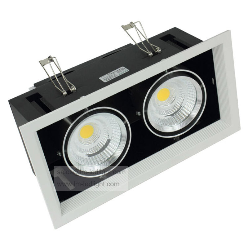 Dimmable 2*10W LED Bean Pot Light 110-240V Bridgelux COB LED Grille Lamp 4pcs/lot warm/day/cold white focos led empotrables free shipping double head 20w 2 10w warm white cold white cob dimmable led down light ac90 240v ce certificate