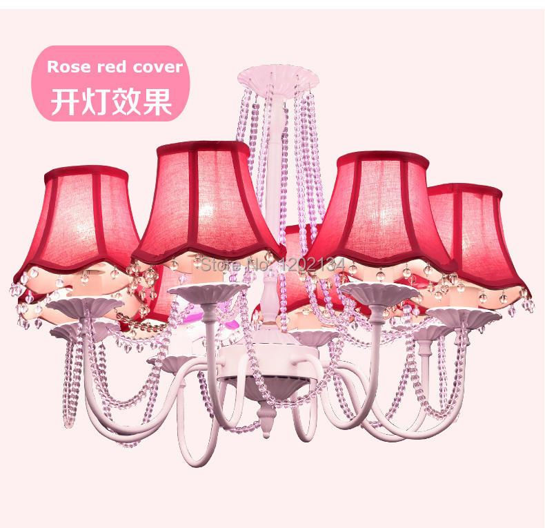 8light korean princess sweet candle chandeliers lamp modern white iron crystal chandelier pink