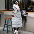 2016 Novo Revestimento Para Baixo Com Pele Real Das Mulheres Casaco de Inverno Grande Rotulagem Personalidade Gola de pele Slim Para Baixo Casaco Jaqueta Plus Size Grosso