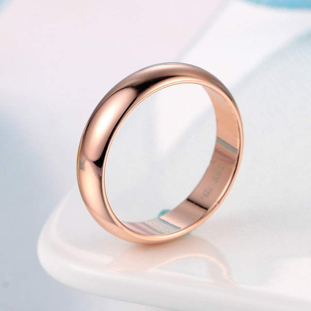 USTAR round wedding rings for women men jewelry Rose Gold color Lover's men rings female anel bijoux Gift top quality
