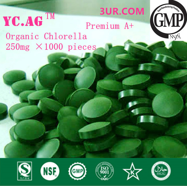 250g 100% Organic Chlorella Vulgaris Chlorella Pyrenoidosa Tablet 250mgx1000pcs Broken High Quality Rich of Chlorophyll,Protein