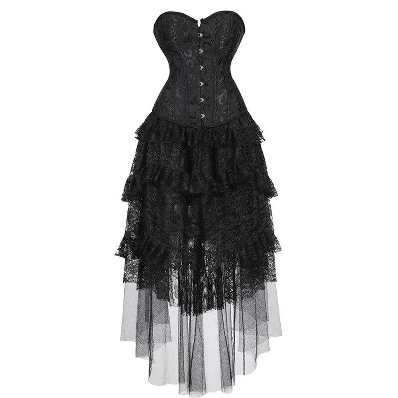 Women's Retro Victorian Gothic   Corset   Dress Plus Size Sexy Burlesque Ruffle Black Lace High Low Skirt Vintage Party Long Dress