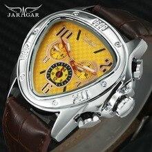 JARAGAR Fashion Sporty Men Auto Mechanical Watch Genuine Leather Strap 6 Hands 24H Date Display Triangle