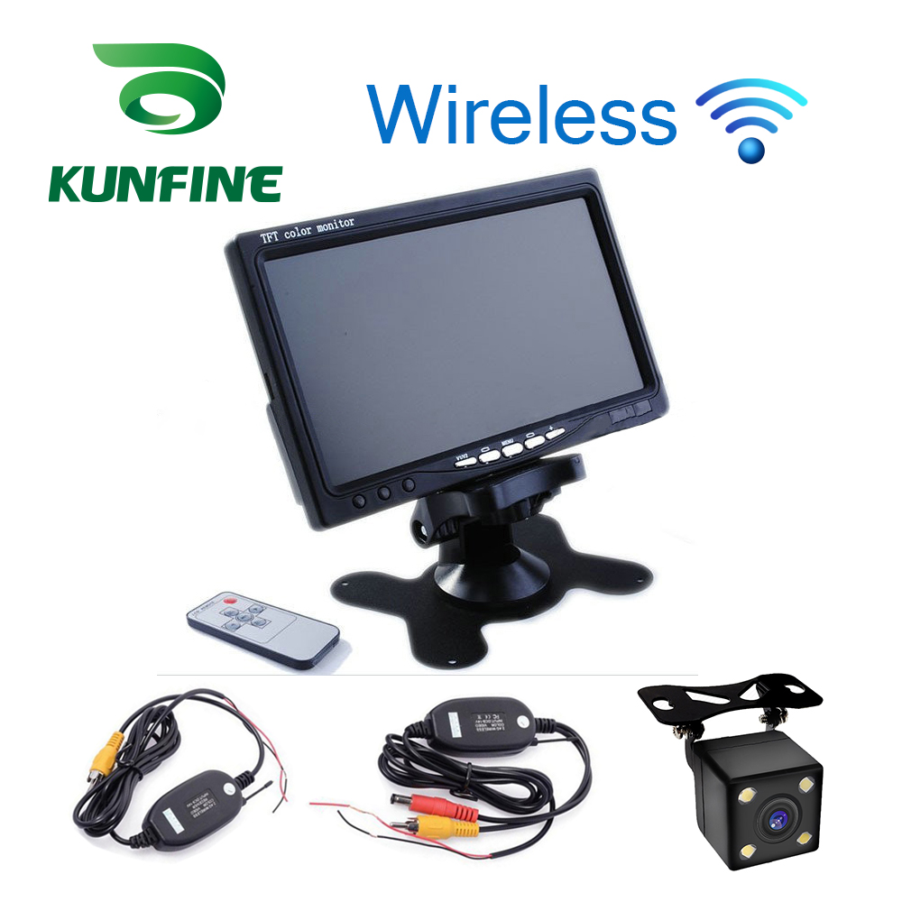 KUNFINE Wireless 7 inch TFT LCD Car Headrest Display Monitor Rear View Display for Rearview Reverse Backup Camera Car TV Display 7 inch tft lcd display screen 2 video input car rear view monitor e313 420 tv lines 170 degree reverse backup car camera