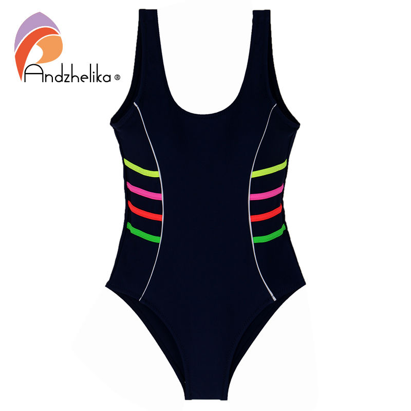 все цены на Andzhelika 2018 Girls Sports Swimsuit One-piece Swimwear Patchwork Solid multicolour Bodysuit Suit Girls Swimwear