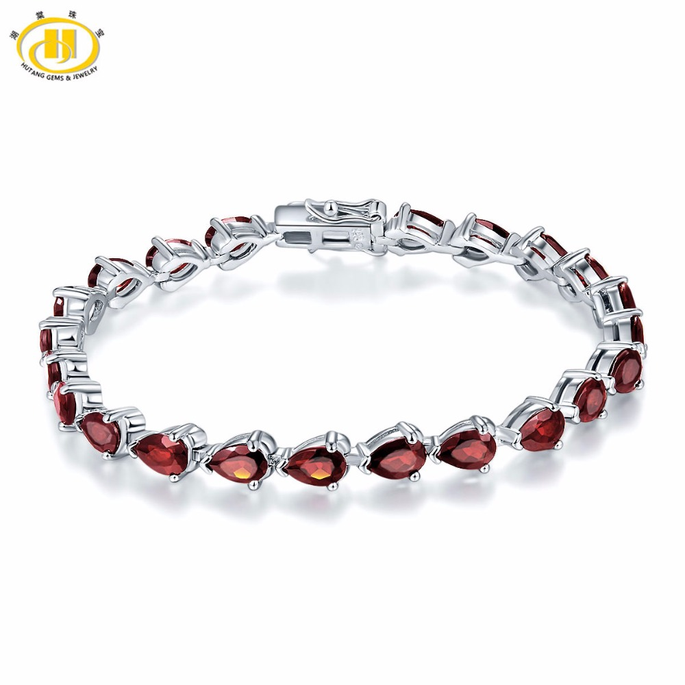 Hutang 11 5Ct Natural Garnet Solid 925 Sterling Silver Bracelet for Women Pear Cut Gemstone Fine