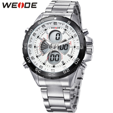 купить Fashion WEIDE Military Sport Watch Men Round Case Digital Quartz Movement LED Date Day 30m Waterproof Man Wristwatches Relogios онлайн
