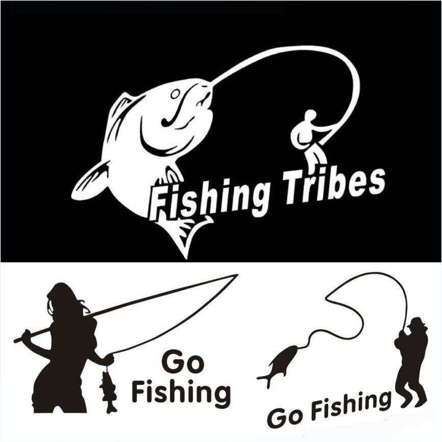 5pcs lot go fishing waterproof car stickers fishing for Go go fishing