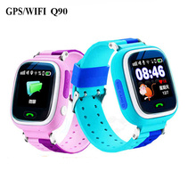 Russion English kids children gps smart watch baby sos watch wifi Q90 touch screen Device Tracker  Kid Safe Anti-Lost Monitor