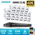 ANNKE 16CH 4K Ultra HD POE Network Video Security System 8MP H.265+ NVR With 16X 8MP Weatherproof IP Camera Support 128G TF Card