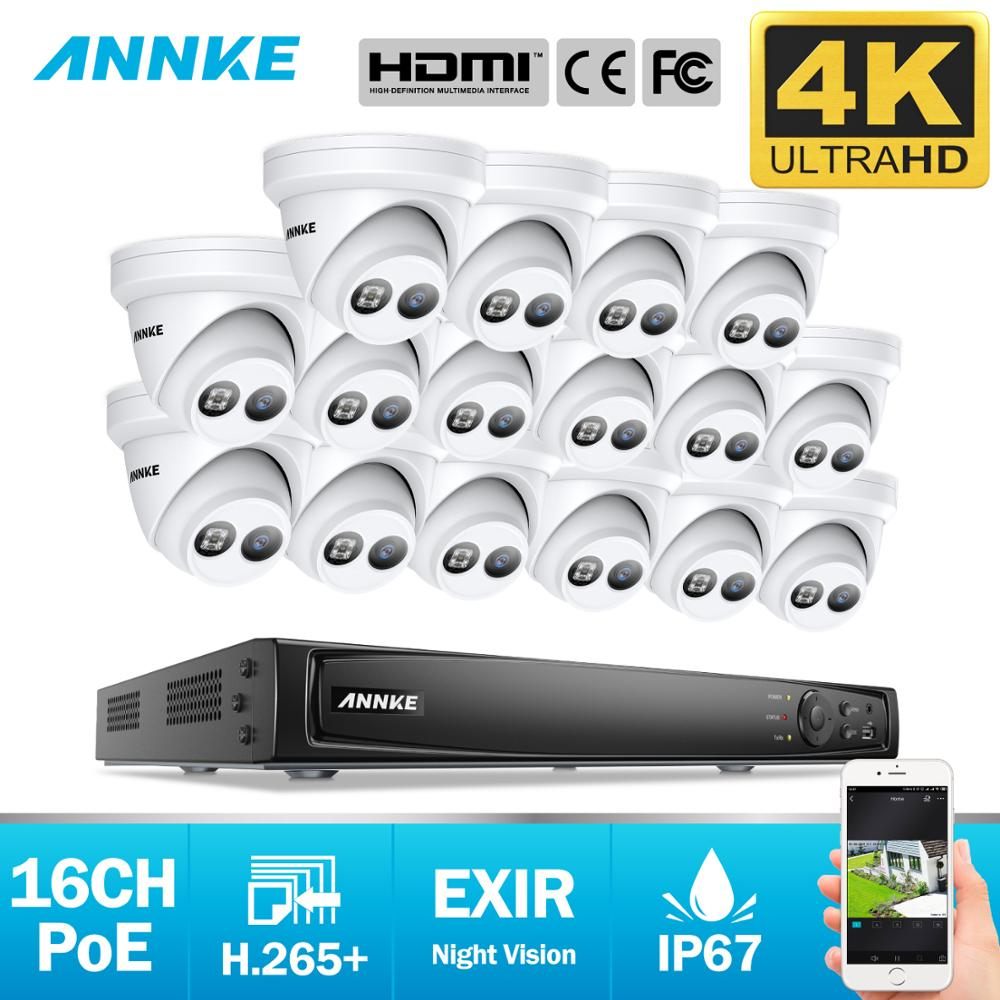 ANNKE 16CH 4K Ultra HD POE sistema de vídeo de red de seguridad 8MP H.265 + NVR con 16X 8MP impermeable IP Cámara soporte 128G TF tarjeta Videoportero VANSOALL, timbre cableado de teléfono, sistema de videoportero, Monitor a Color de 7 pulgadas y cámara HD con liberador de puerta, botón táctil