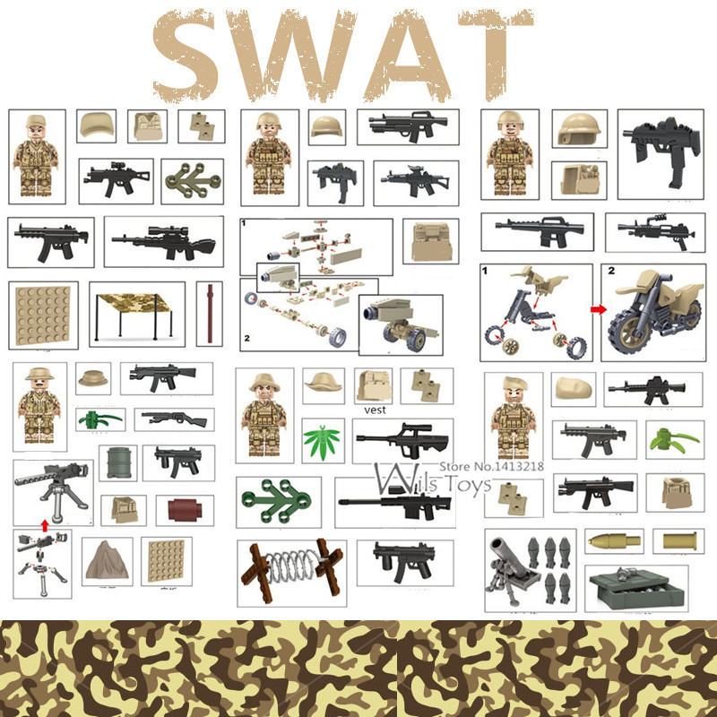 6pcs Mountain Special Forces MILITARY Army WW2 Soldier Weapon SWAT Mini Building Blocks Bricks Small Figures Toys for Boys Gift 6pcs swat military army riot police officer special weapons minifigures building blocks bricks kid baby boy toys