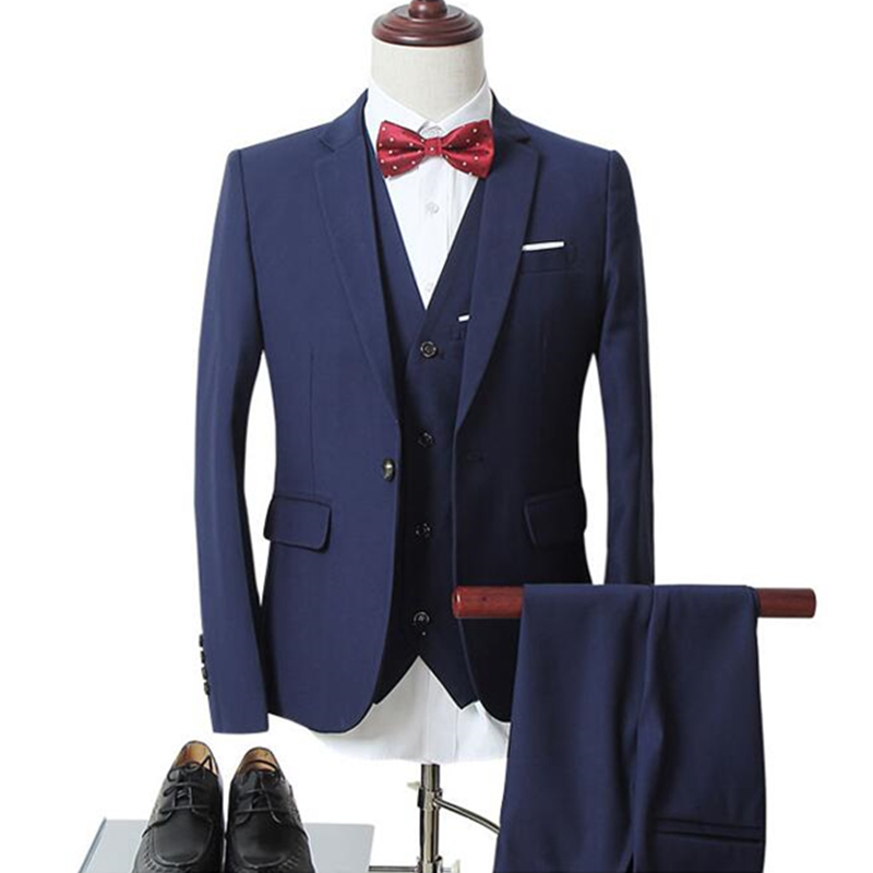 mens business casual suits sets / Men three-piece suit three separate set / male vest+Blazers+pants PLUS SIZE 6XL suit coat