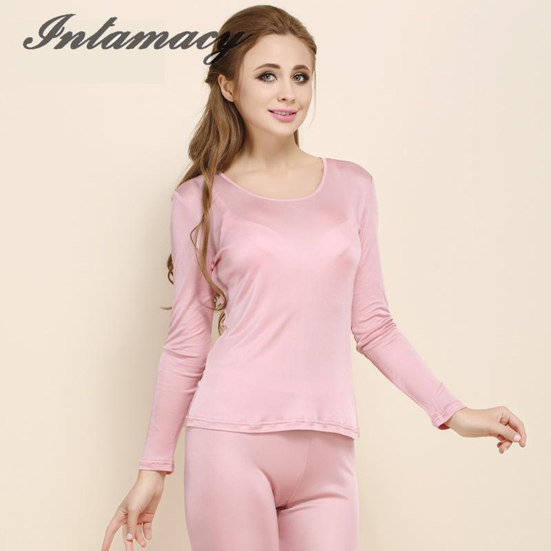 Ladies Silk Knitting T-shirt Pure Low Thermal Underwear Sets 100% Silk Long Johns