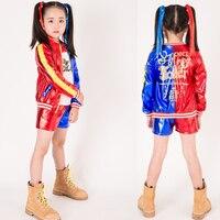 2018 Carnival Kids Girls Dress Moana Trolls Suicide Squad Harley Quinn Coat Shorts Top Set Halloween