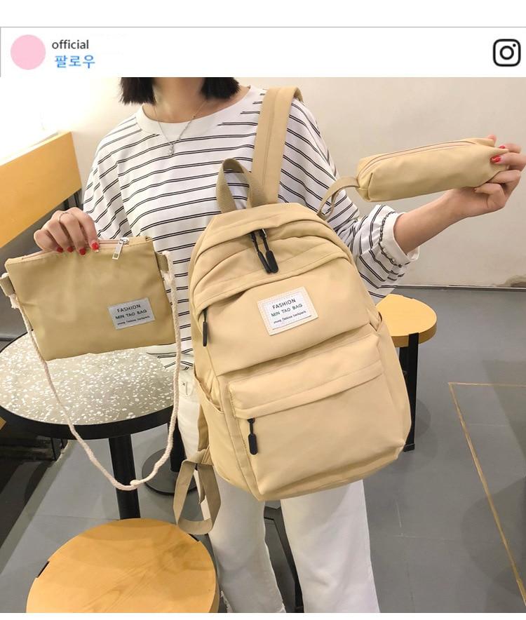 HTB1tnNYSAzoK1RjSZFlq6yi4VXaR Fashion Backpack Women Backpack 3 PCS set Students shoulder Bags bagpack Candy Colour Junior High school bags for teenage girls