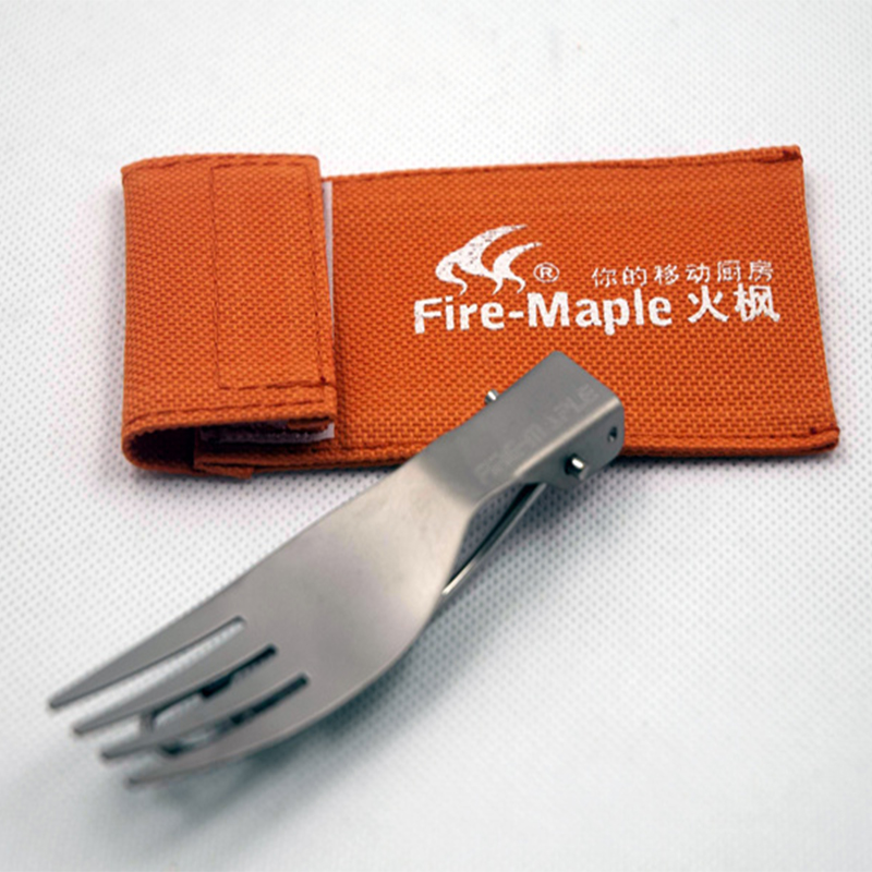 Hot Sale Fire Maple Fmt-t12 Titanium Fork Folding Knife Fork Spoon Outdoor Cutlery Portable Camping Tablewares Ultralight 15g Campcookingsupplies Outdoor Tablewares