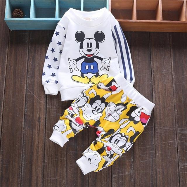 2016 bebés que arropan 2 unids nueva minnie sistemas de la ropa niños niñas mangas llenas camisa Ocasional + pants historieta de los niños trajes
