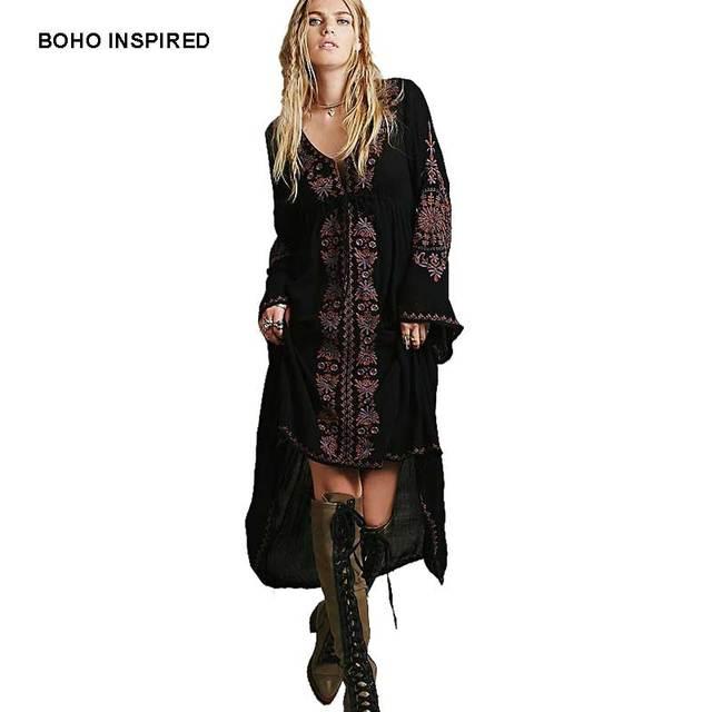 42587ae8112 BOHO INSPIRÉ automne robe Col V à manches longues hippie chic maxi bohème  robes Broderie robe