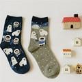 2pair/lot  Caramella Brand Lovely Polar Bear Fashion Cartoon Cotton Socks For Women Creative Cute Girls Socks Female Mieas
