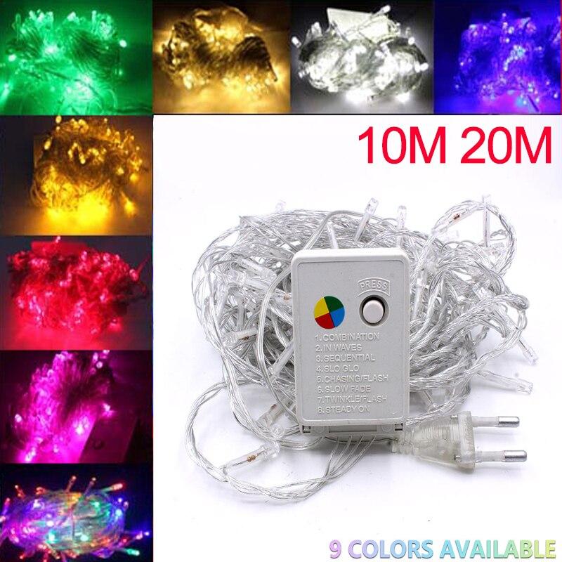 2/5/10m 100leds led string light 9 cores festão lâmpadas à prova dwaterproof água ao ar livre garland festa de natal decoração