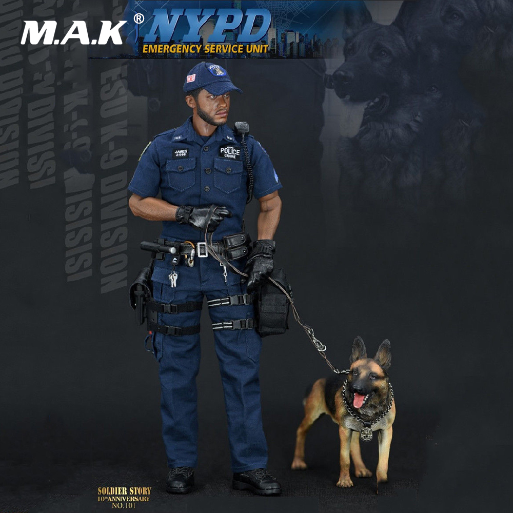 Collection 1/6 Full Set Male Soldier Emergency Service Unit SS101 NYPD ESU K-9 Division Police K9 Unit Action Figure With Dog full set 1 6 german wwii solider armored division uniform panzer division rainer action figure wounded wersion for collection