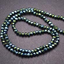 4 мм гальванические металлические зеленые стеклянные хрустальные бусины Rondelle, благородный стиль, модные ювелирные изделия, подходит для изготовления ожерелья