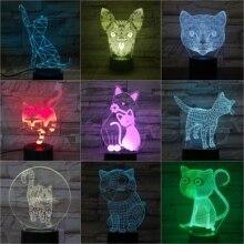 Cute Animal Cat Desk Lamp 3D Illusion 7 Color Changing Decorative Kids Kit Dropshipping 2019 LED Night Light Romm Decor