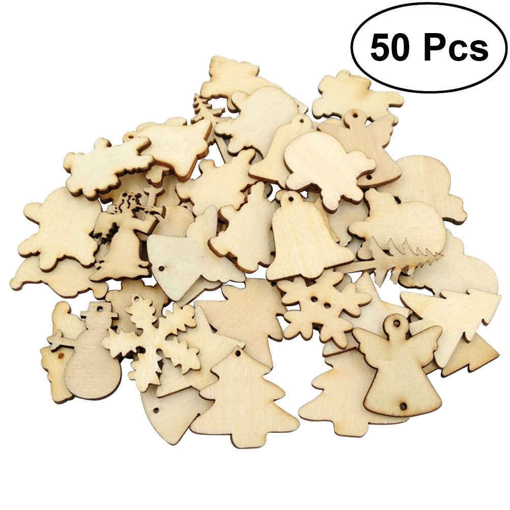 50pcs Mixed Shape Wooden Christmas Series Slice Scrapbooking Embellishments DIY Craft Decor For Wedding DIY Decoration