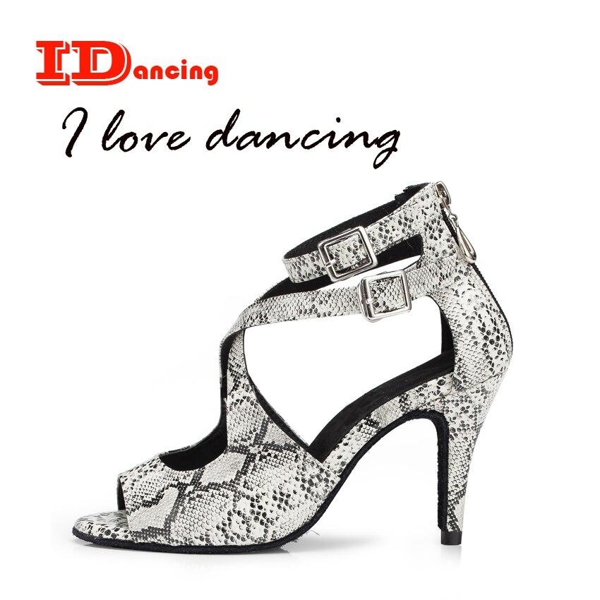 IDancing snake skin PU latin dance shoes waltz shoes leopard shoes women sexy girls shoes mordern design soft outsole