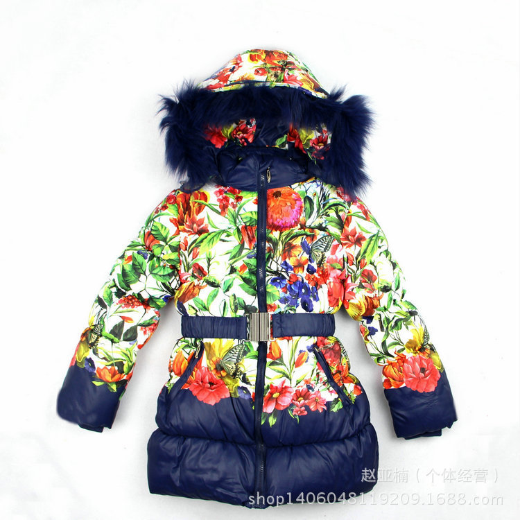 ФОТО 2016 New Children's Winter Dress  baby girl Ski Suit kids  Windproof  Floar Warm Fur down Jackets+Bib Pants+Wool Vest