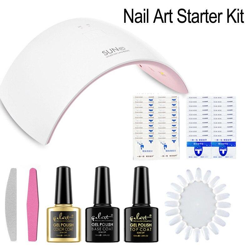 Nail Art Starter Kit Set SUN9C Nail Gel Lamp White Light