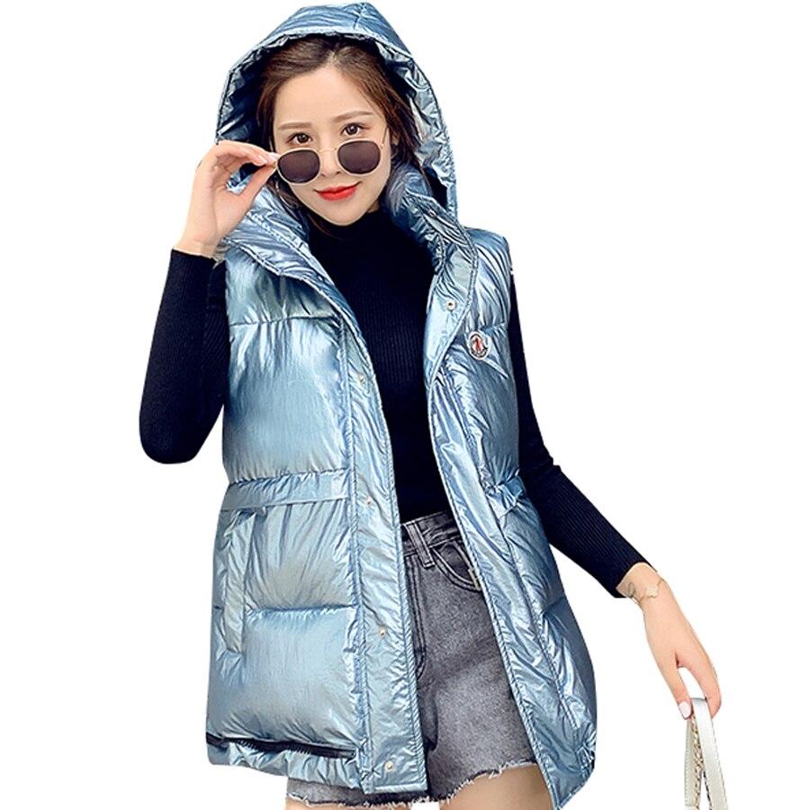 New 2019 Fashion Cotton-Down Vest Women Sleeveless Coats Female Hooded Casual Warm Windproof Jacket Waistcoat