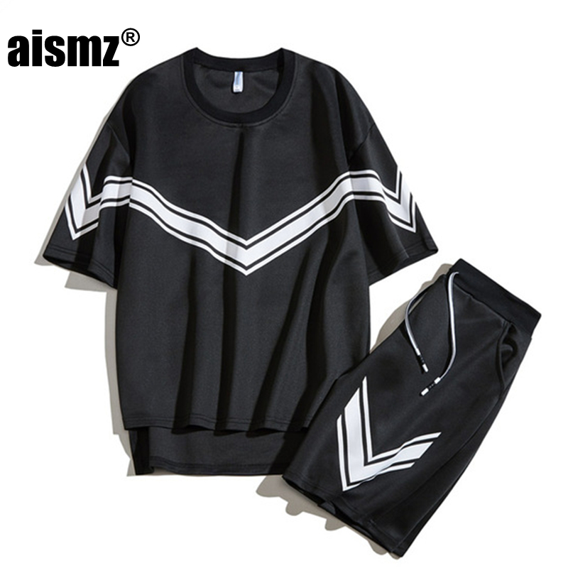 Aismz New Loose Style T-shirts Set M-3XL Men Summer Clothing Sets Fashion Male T- Shirt+Shorts Sets Tracksuits Mens Sportswear