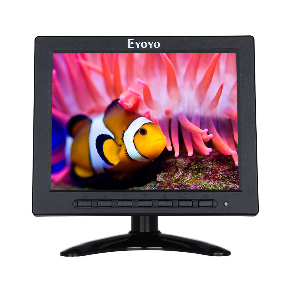 EYOYO 8 Inch TFT LED Video Audio VGA HDMl BNC HD Monitor 4:3 Screen For DVR PC CCTV 3 5 inch tft led audio video security tester cctv camera monitor