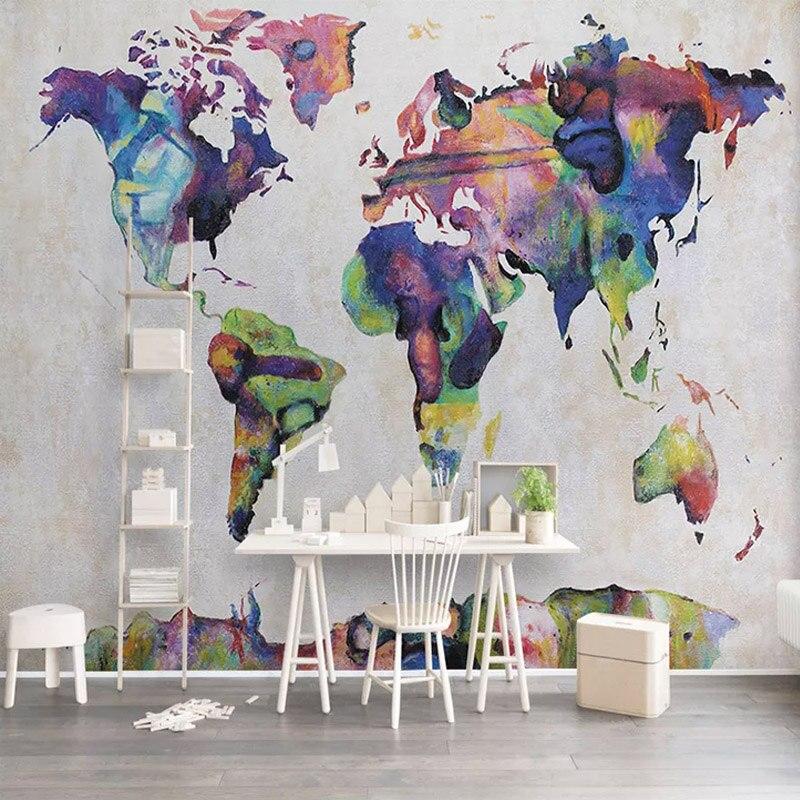 Custom Mural Wallpaper 3d Retro Watercolor World Map Photo Wall