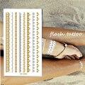 1 pc mulheres produto do sexo à prova d ' água de ouro metálico flash do tatuagem tatuagens temporárias pulseira de ouro elegante etiqueta Body Art tatouage