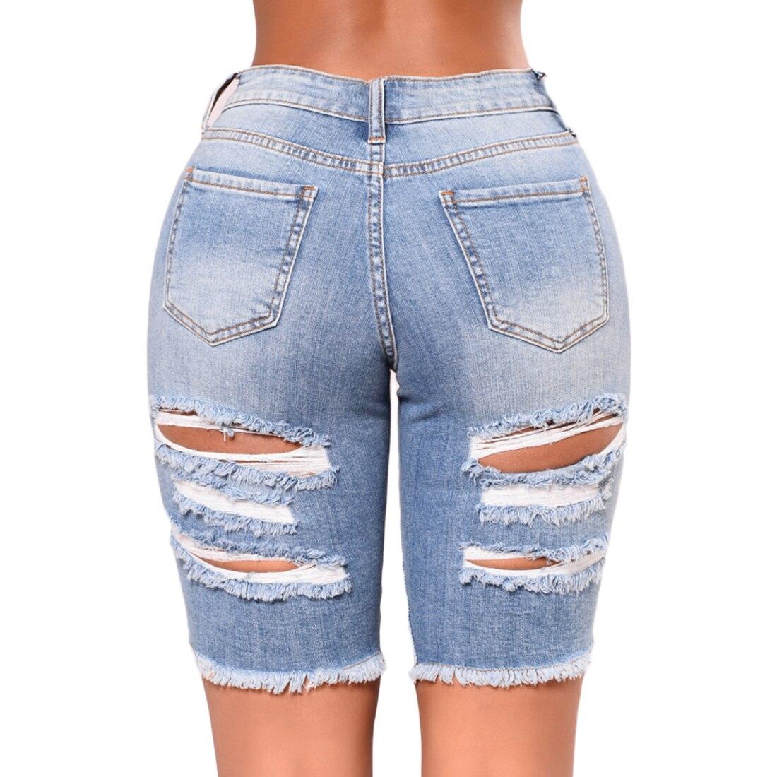 New   Women Fashion High Waist Half Ripped Jeans Street Hole Slim Torn Femme Denim Shorts