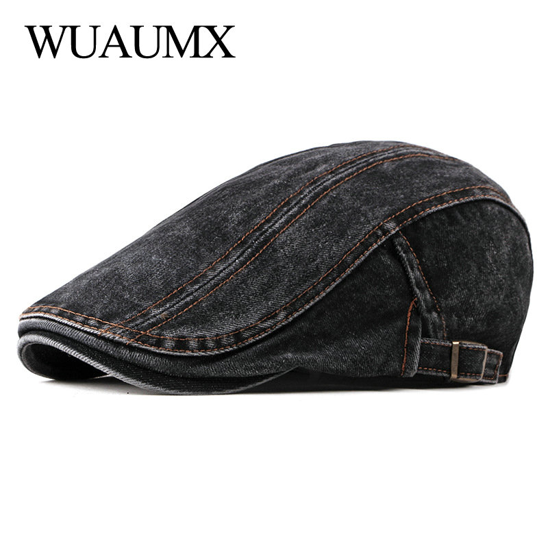 Wuaumx Casual Spring Summer Berets Hat Men Women Denim Newsboy Caps Visors Cotton Cabbie Herringbone Cap Duckbill Ivy Flat Cap