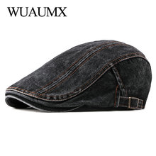 Wuaumx Casual Spring Summer Berets Hat Men Women Denim Newsboy Caps Visors Cotton Cabbie Herringbone Cap Duckbill Ivy Flat