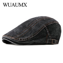 Wuaumx Casual Spring Summer Berets Hat Men Women Denim Newsboy Caps Visors Cotto