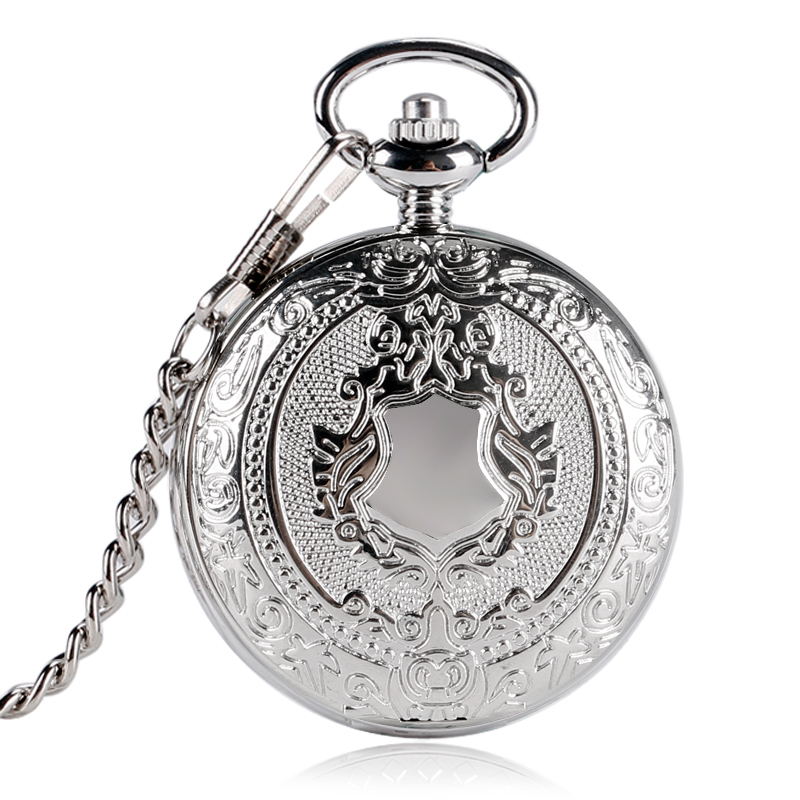 Luxury Fashion Silver Shield Design Pocket Watch Men Women Fob Clock Mechanical Hand-winding Reloj Bolsillo Gift Chain P2032C