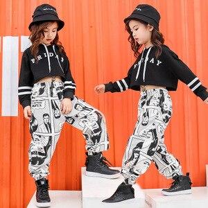 Image 2 - Kid Print Casual Pants Cropped Hoodie Shirt Sweatshirt Top for Girl Hip Hop Clothing Dance Clothes Ballroom Dancing Costume Wear