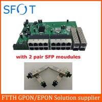 Плата обратного коммутатора POE, 16 портов FE + 4 порта SFP, с 2 парными модулями SFP SC port 3 km