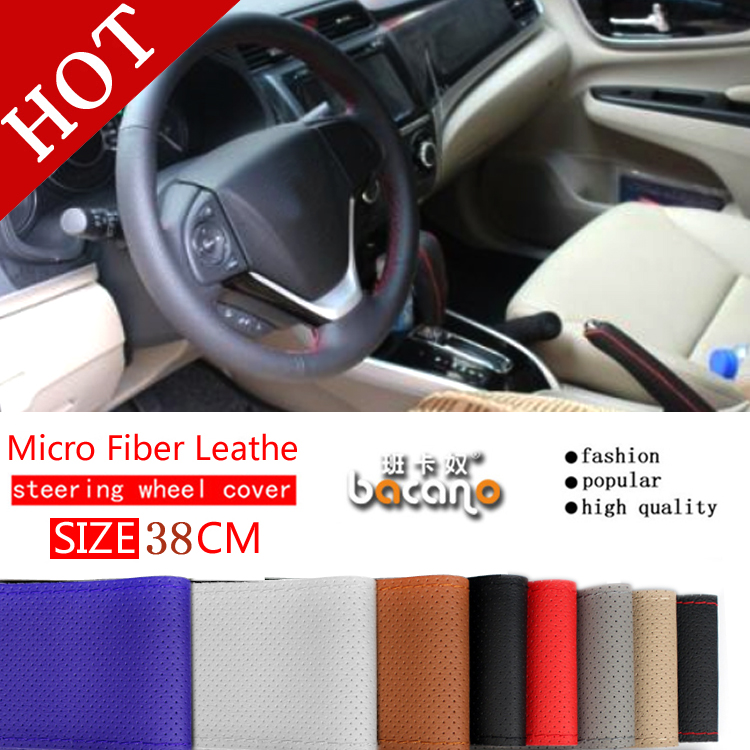 hot micro fiber leather Steering Wheel Cover,Car Styling Accessories Volante Esportivo,DIY Handmade Case With Needles and Thread