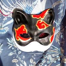 Half Face Hand Painted Japanese Fox Mask Kitsune font b Naruto b font Cloud Pattern font