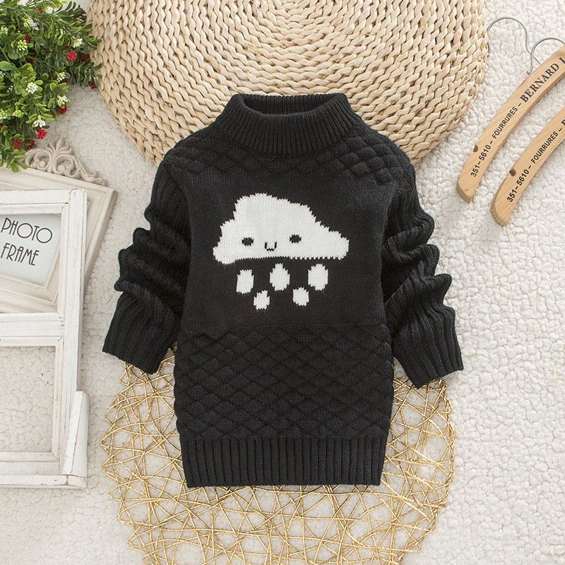 DIIMUU Baby Boys Girls Clothing Casual Print Winter Warm Long Sweater Kids Fashion Clothes Outdoor Leisure Tops 1-3 Years 5