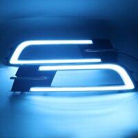 Qirun led drl daytime running light for Volkswagen Passat b8 with yellow turn signals and blue night running light